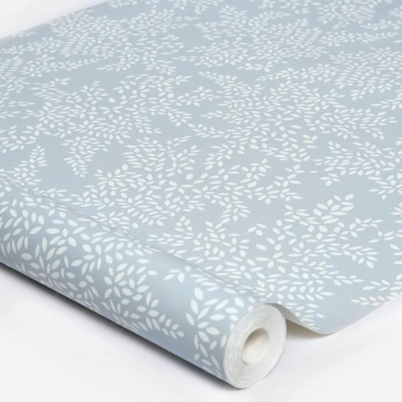 Little Leaves Pale Blue Wallpaper