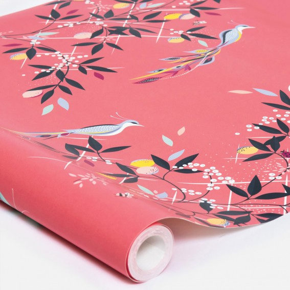 Orchard Birds Coral Wallpaper