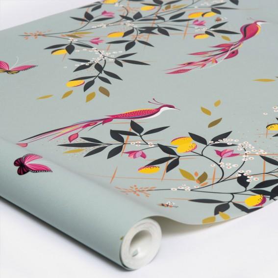 Orchard Birds Duck Egg Wallpaper