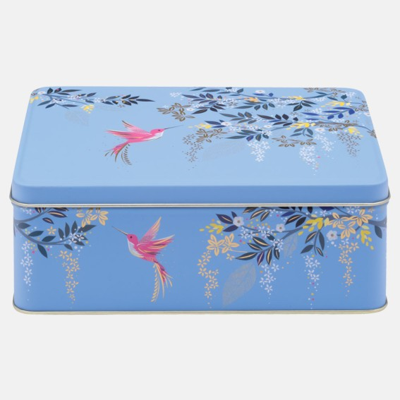 Light Blue Hummingbird Deep Rectangular Tin