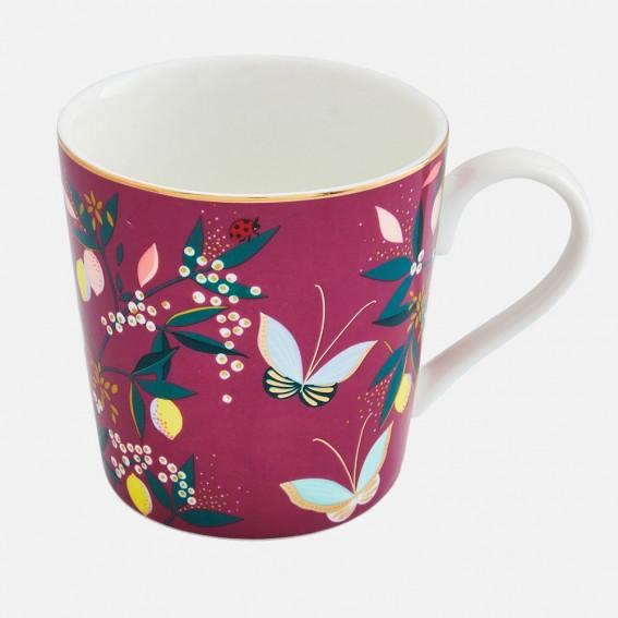 Deep Mauve Orchard Butterfly Mug