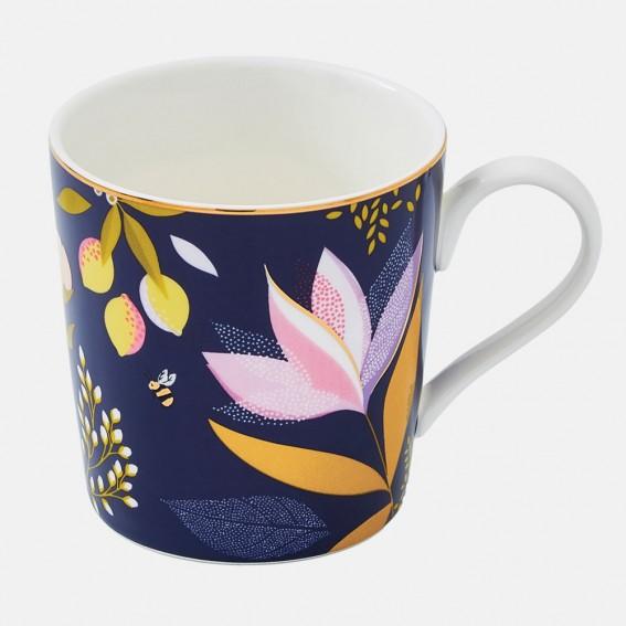 Navy Orchard Floral Mug