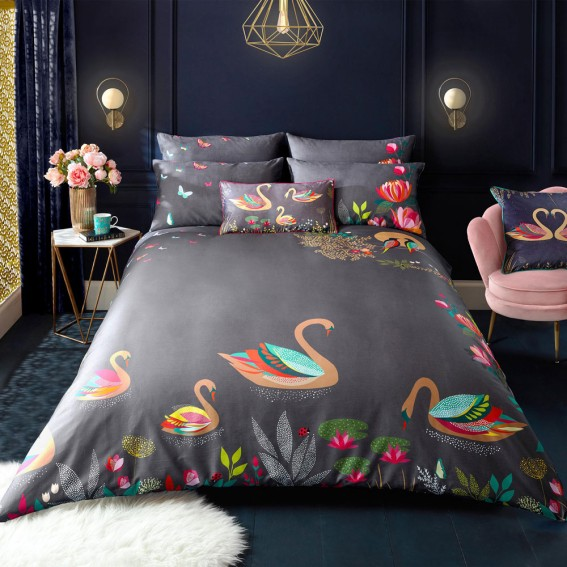 Swan King Duvet Cover and Pillowcase Set