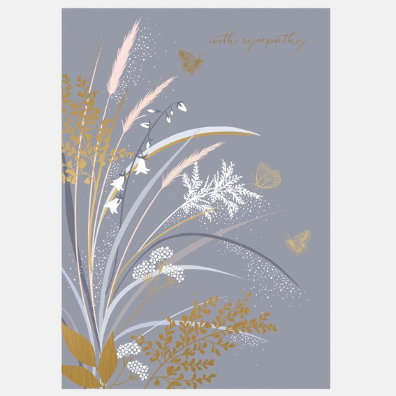 Golden Grass Sympathy Card