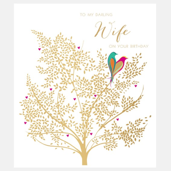 Lovebirds Wife Birthday Card