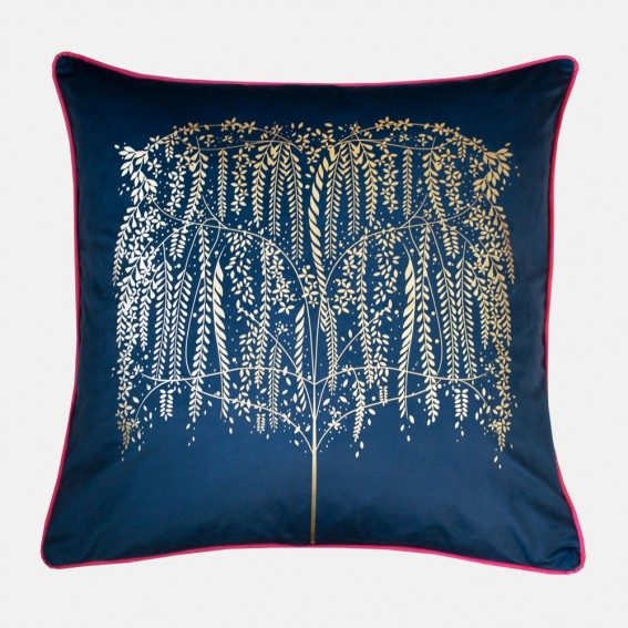Navy Willow Tree Metallic Feather Filled Cushion
