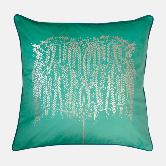 Green Willow Tree Metallic Feather Filled Cushion