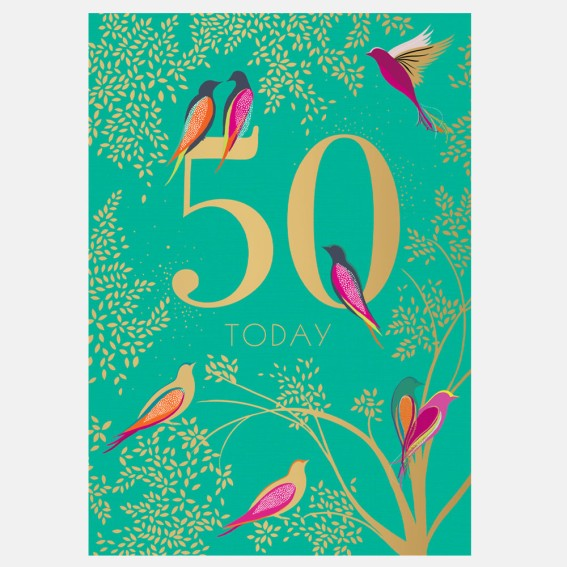 Green Birds 50th Birthday Card