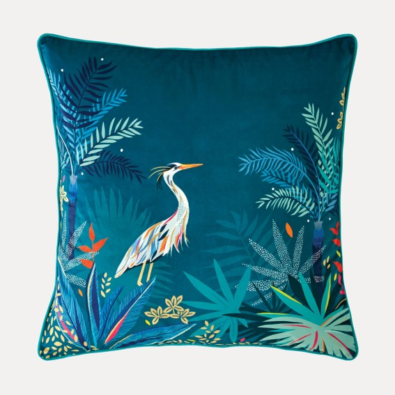 Teal Heron Feather Filled Cushion