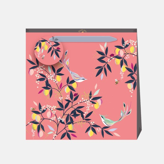 Coral Orchard Birds Medium Gift Bag