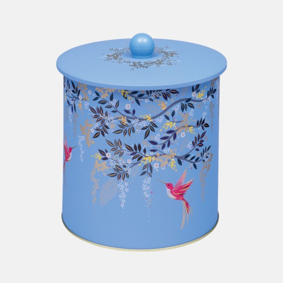 Light Blue Hummingbird Biscuit Barrel Tin