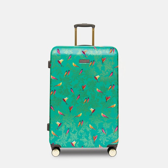 Green Birds Large Suitcase