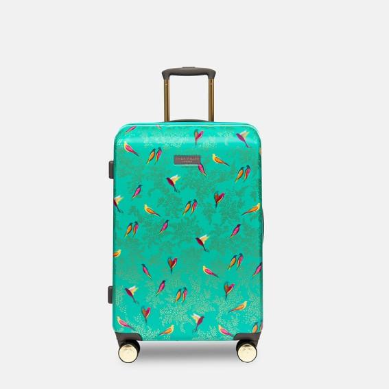 Green Birds Medium Suitcase