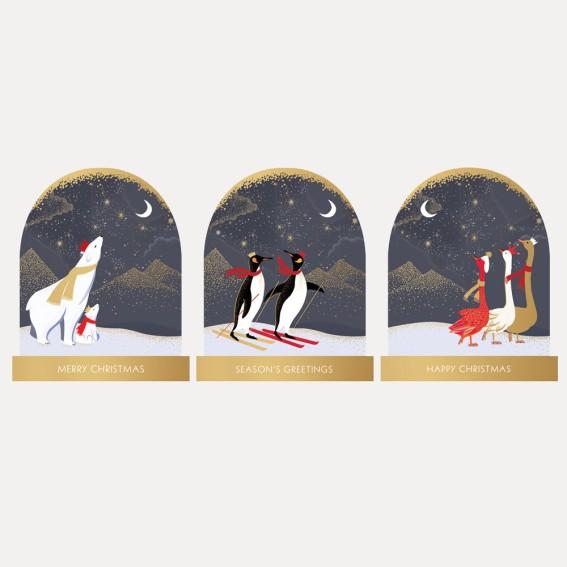 Animal Trio Christmas Cards - Assorted Set of 12