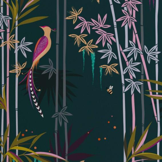Dark Green Bamboo Trees Wallpaper SAMPLE