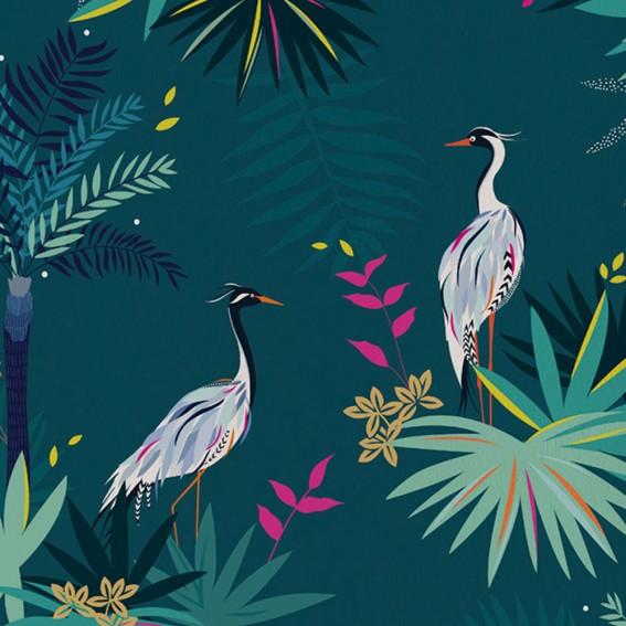 Teal Heron Wallpaper SAMPLE