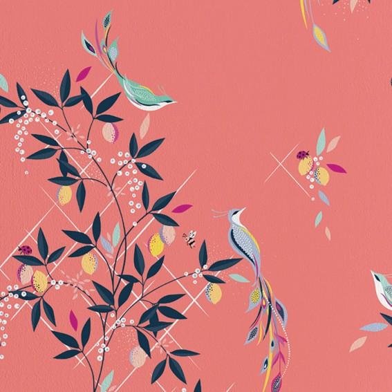 Orchard Birds Coral Wallpaper SAMPLE