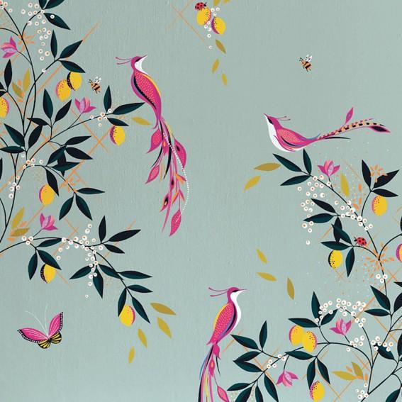 Orchard Birds Duck Egg Wallpaper SAMPLE