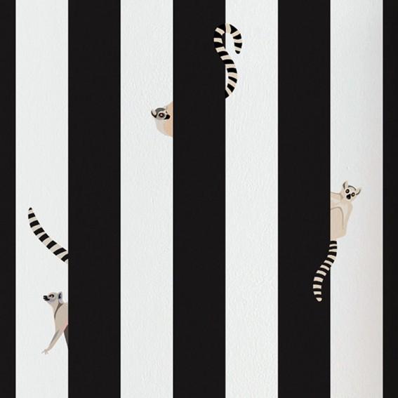 Lemur Striped Wallpaper SAMPLE