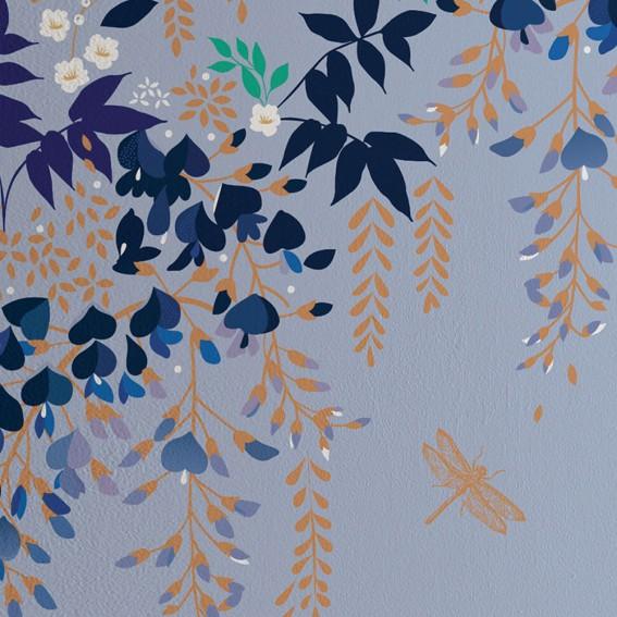 Light Blue Wisteria Wallpaper SAMPLE