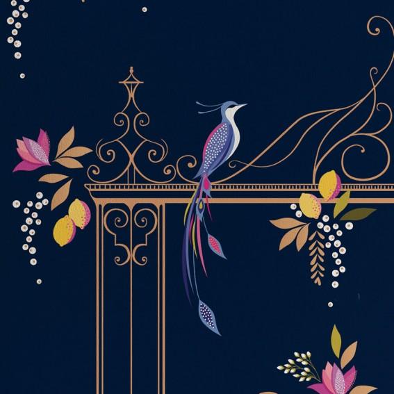 Navy Orchard Birds & Gate Wallpaper SAMPLE