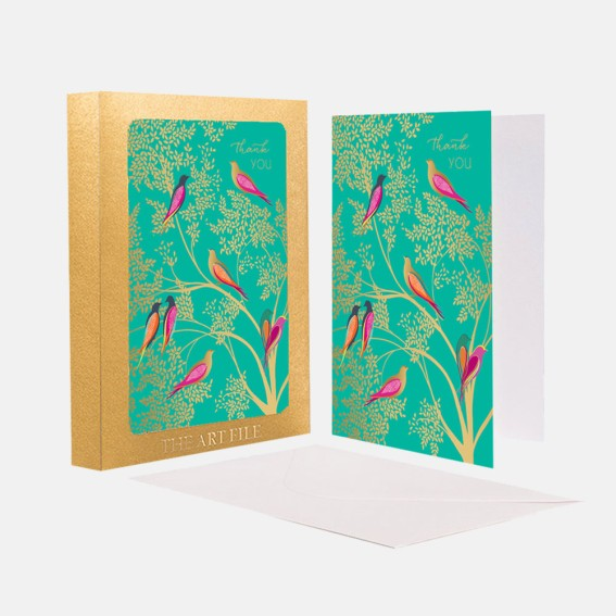 Green Birds 'Thank you' Notecard  - Set of 10 Cards