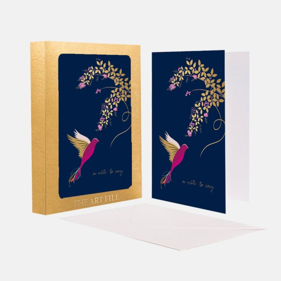 Navy Hummingbird 'A Note to Say' Notecard  - Set of 10 Cards