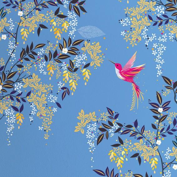 Hummingbird  Light Blue Wallpaper SAMPLE
