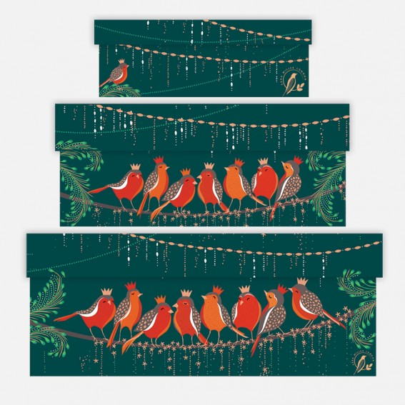 Rows of Robins Gift Boxes - Set of 3