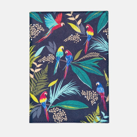 Decorative print, Tropical leaf pattern, Exotic leaves, stationery set, patterned stationery, notebook, note taker, bird print, leaf print notebook, animal print journal, home office, luxury stationery, journals, diary, gift, gifting, gift ideas, A5 journ