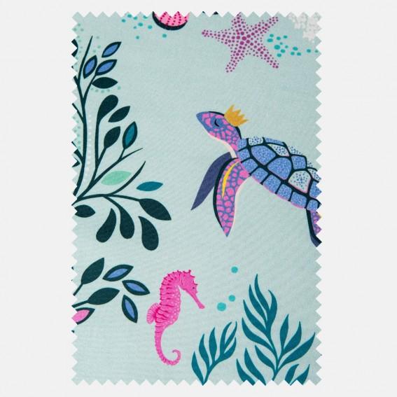 Underwater Aqua Sateen Fabric SAMPLE