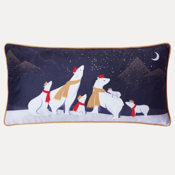 Polar Bears Night Sky Feather Filled Cushion