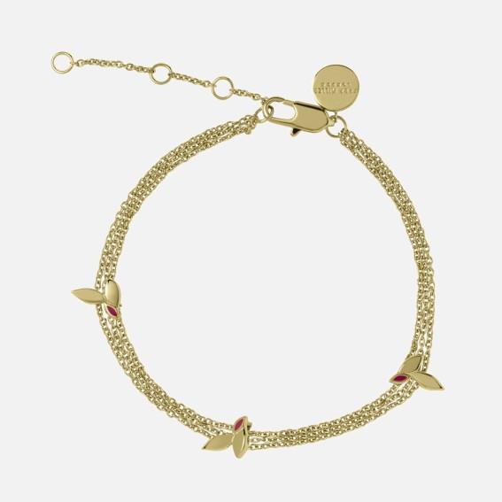 Enamelled leaf bracelet