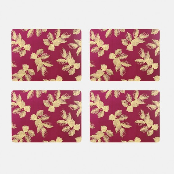 Berry Etched Leaves Placemats - Set of 4