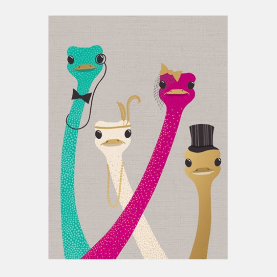 Ostrich Family Card