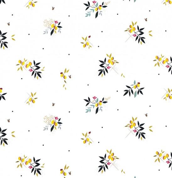 Lemon Cluster White Sateen Fabric