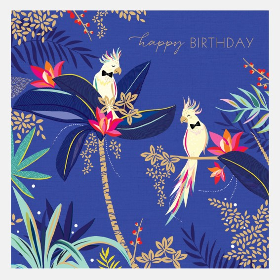 Cockatoo Pair Happy Birthday Card