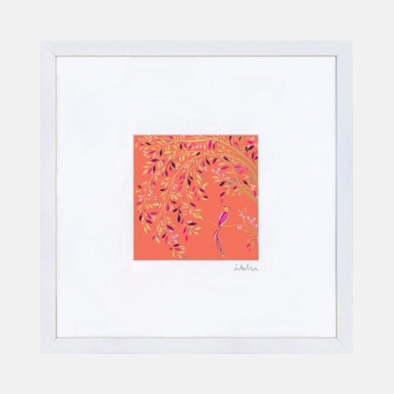 Coral Songbird Wall Art