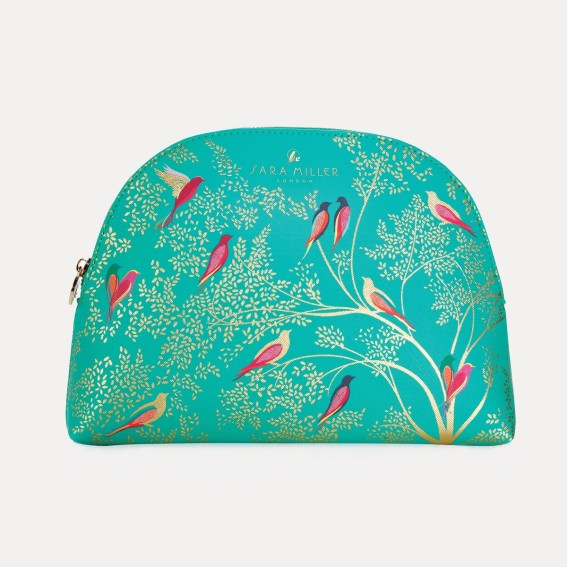 Green Birds Large Cosmetic Bag