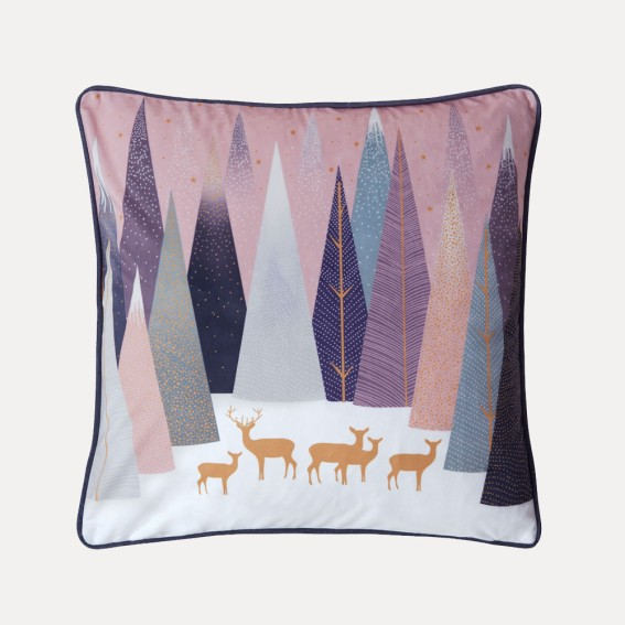 Frosted Pines Deer Feather Filled Cushion