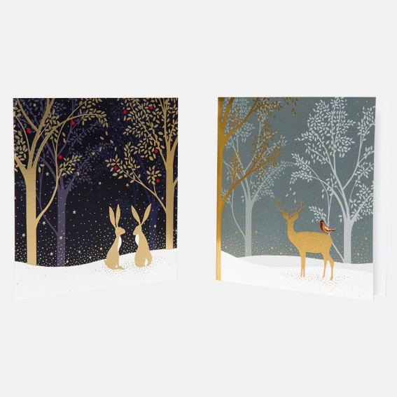Deer & Hare Christmas Card Assortment - Set of 10