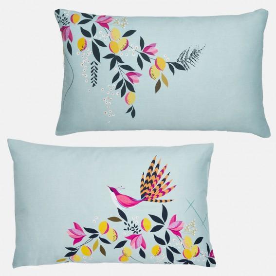 Duck Egg Orchard Birds Standard Pillowcase Pair