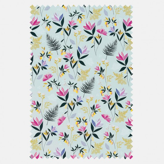 Orchard Floral Duck Egg Sateen Fabric SAMPLE