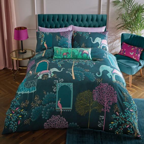 Deep Jade Elephant Oasis King Duvet Cover & Pillowcase Set