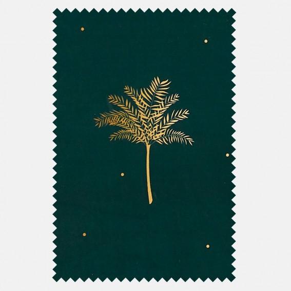 Tropical Palm Forest Green Velvet Fabric SAMPLE