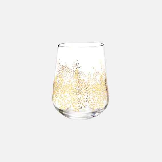 Gold Leaves Stemless Wine Glasses - Set of 4