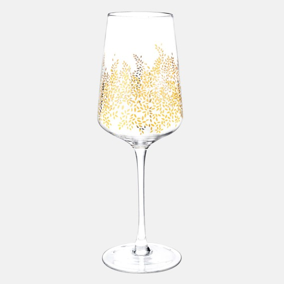 Gold Leaves Wine Glasses - Set of 4