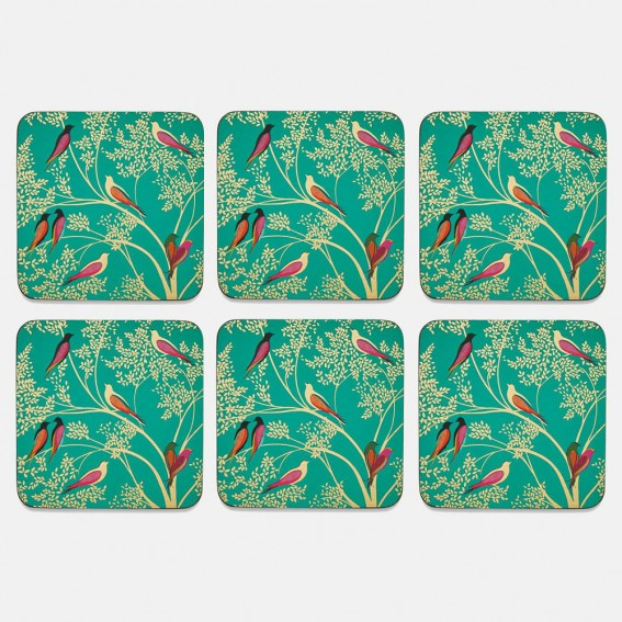Green Birds Coasters - Set of 6