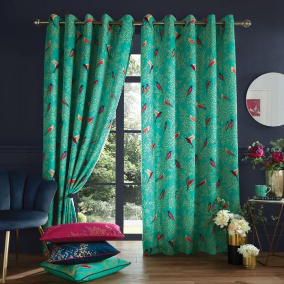 Green Birds Ready Made Curtain Pair - W229cm x Drop 229cm