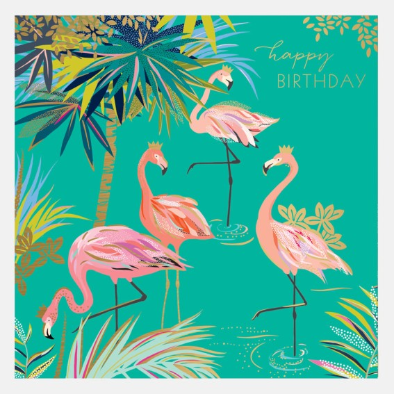 Green Flamingo Happy Birthday Card